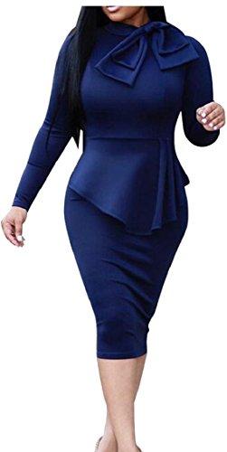 Jaycargogo Des Femmes De Manches Longues Slim Fit Faux Deux Pièces Robe Crayon Peplum 1
