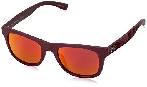 Lacoste Unisex L790S Rectangular Sunglasses, Matte Burgundy, 52 mm