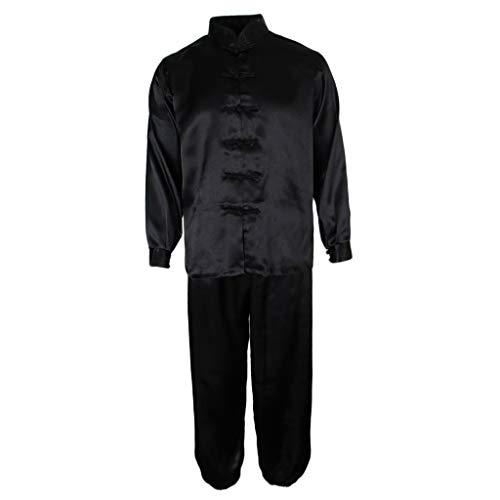 Prettyia Adults Silk Satin Tai Chi Uniform Martial Arts Kung Fu Sportswear Suit Long Sleeves - Black, 2XL