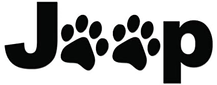Inspired by Jeep Logo Jeep with Pawprints Vinyl Decal Sticker Paw Print