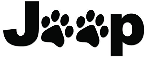 Jeep Dog Paws Print Vinyl Decal Sticker For Vehicle Car Truck Window Bumper Wall Decor - [6 inch/15 cm Wide] - Matte BLACK Color