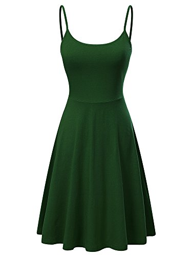 VETIOR Women's Sleeveless Adjustable Strappy Flared Midi Skater Dress (X-Large, Green)