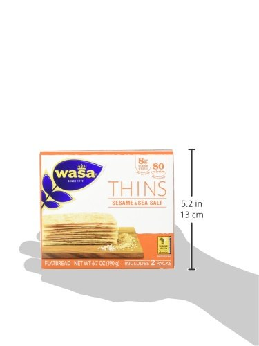 Wasa Flatbread Thins, Sesame and Sea Salt, 6.7 Ounce (Pack of 10)