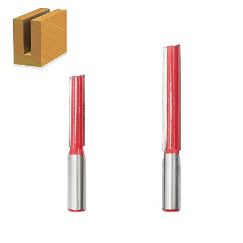 Saiper 2pcs 1/2 Inch Double Flute Straight Router Bit with 1/2