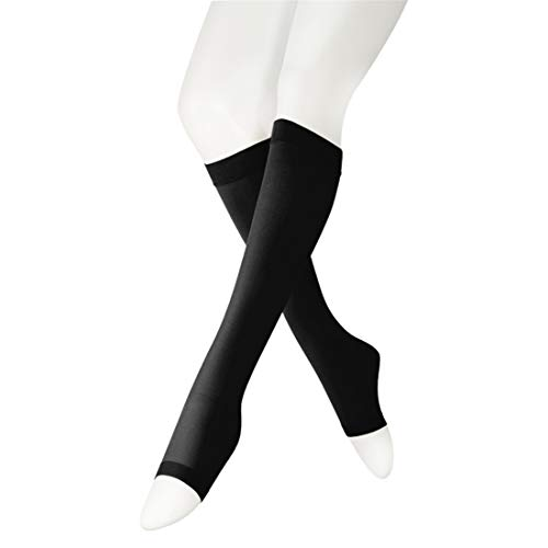 Opaque Compression Socks Knee High Length Medical Graduated Stocking 20-30 mmHg Firm Support - Open Toe - Unisex Surgical Socks Black XX-Large ()