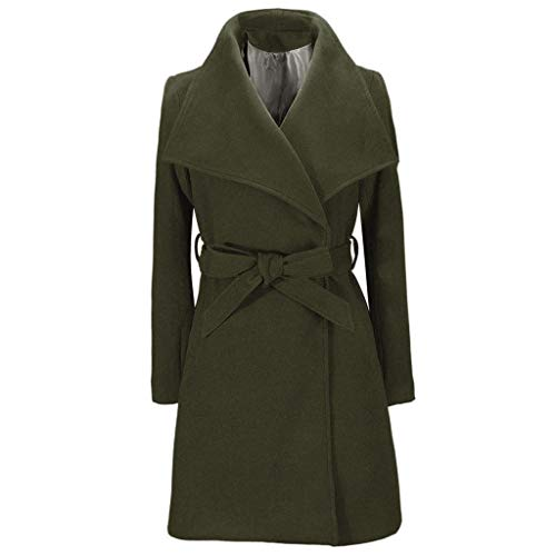 Dainzuy Women Trench Coat Pea Coat Warm Wool Lapel Open Front Long Jacket Cardigan Overcoat Outwear with Belt Green