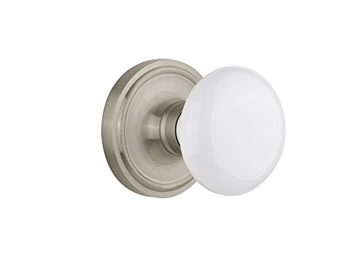 Porcelain Nickel White - Nostalgic Warehouse Classic Rosette with White Porcelain Door Knob, Passage - 2.375
