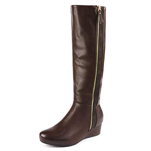 DREAM PAIRS Women's Consta Brown Low Wedge Knee High Winter Boots Size 9 M US (Wedge Boots Furry)