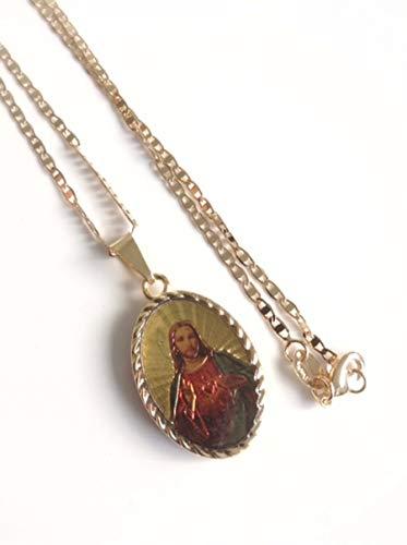 Jesus Medal 18k Gold Plated Necklace Chain 17