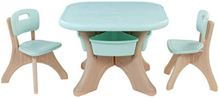 Kidzilla Kids Children Activity Art Table And 2-Chair Set Table With Detachable Storage Bins (Aqua/Beige)
