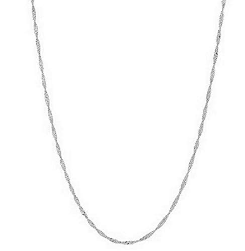 Ritastephens Sterling Silver Singapore Shiny Sparkle Link Chain Necklace 20 Inches