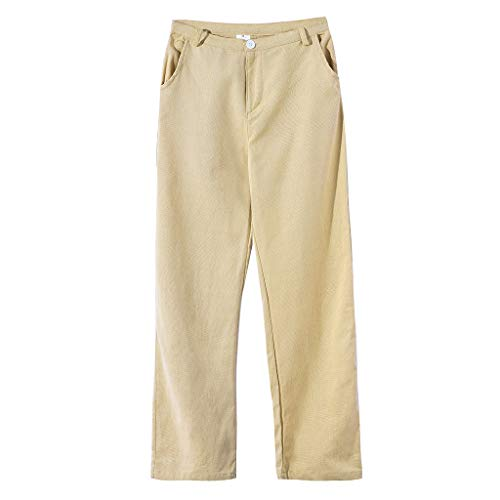 PENGY Men's Summer Simple and Fashionable Pure Cotton and Linen Trousers Khaki ()