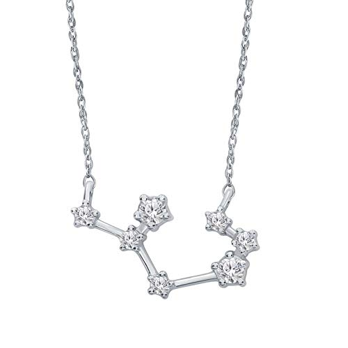 Triss Jewelry 1/5 Cttw Diamond Sagittarius Zodiac Sign Pendant Necklace For Women in Sterling Silver