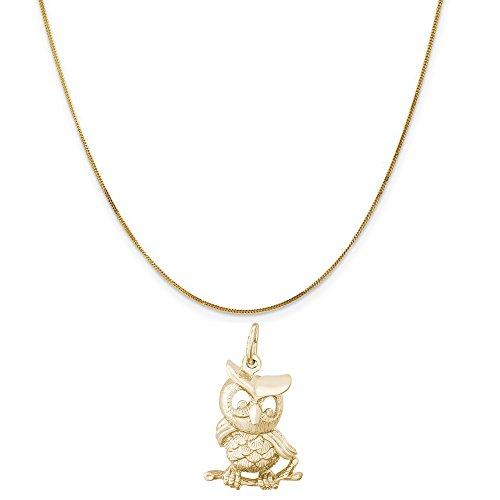 Owl Gold Yellow 14k (Rembrandt Charms 14K Yellow Gold Horned Owl Charm on a 14K Yellow Gold Curb Chain Necklace, 18