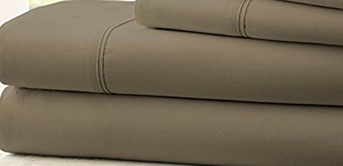 Hotel Comfort 1800 Count Deep Pocket 4 Piece Bed Sheet Set Taupe TWIN XL (Halloween Groupon Code)