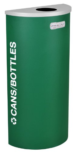 Fire Safe Half Round Container - Ex-Cell Kaleidoscope Collection Recycling Container - Half Round Container With Bottle And Can Lid - Green - Green