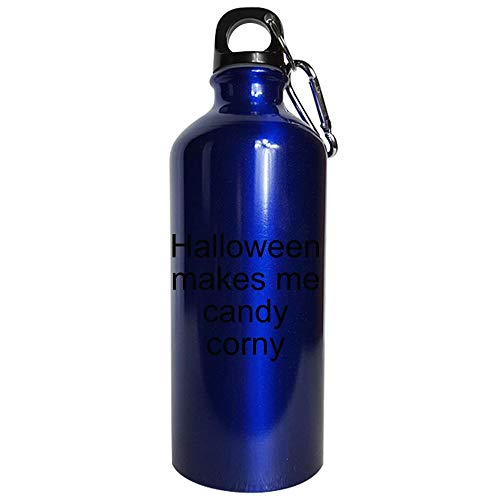 Halloween makes me candy corny - Water Bottle Metallic Blue ()