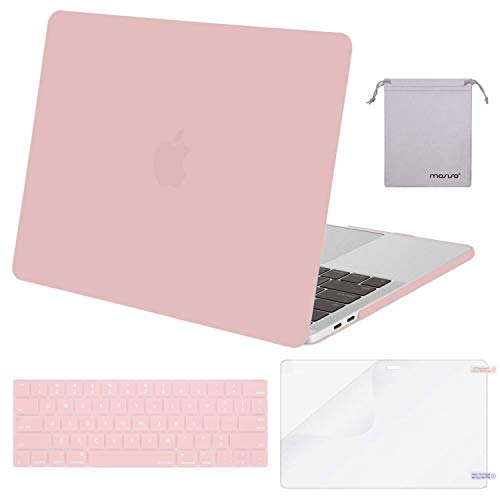 MOSISO MacBook Pro 13 inch Case 2019 2018 2017 2016 Release A2159 A1989 A1706 A1708, Plastic Hard Shell & Keyboard Cover & Screen Protector & Storage Bag Compatible with MacBook Pro 13, Rose Quartz