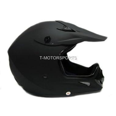 TMS Adult Flat Matte Black Motocross Dirt Bike ATV MX Off-road Helmet DOT (Medium)