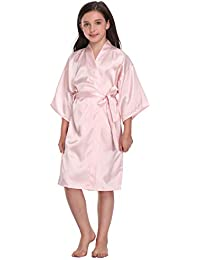 afe306b295 Flower Girl Satin Kimono Robes Basic Style Bathrobes for Wedding Spa  Birthday