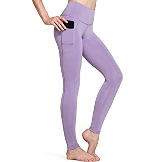 TSLA High Waist Yoga Pants with Pockets, Tummy Control Yoga Leggings, Non See-Through 4 Way Stretch Workout Running Tights, Ankle Aerisupport(fgp54) - Lavender, Medium