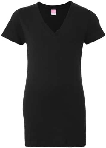 Yoga Clothing For You Ladies Longer Length Black V-Neck T-Shirt