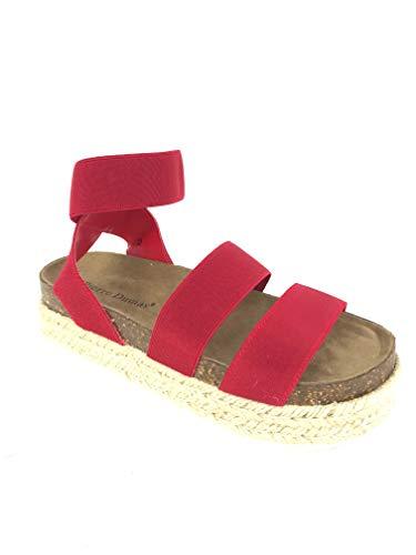 (MVE Shoes Women's Strappy Fashion Espadrille Flatforms, MESA-4 RED 8)