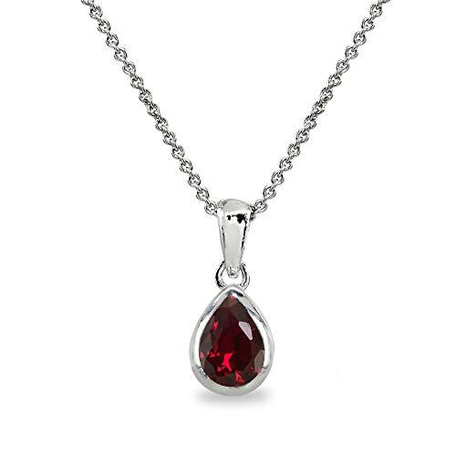 Sterling Silver Created Ruby 8x6mm Teardrop Bezel-Set Dainty Pendant Necklace for Women, Teen Girls ()