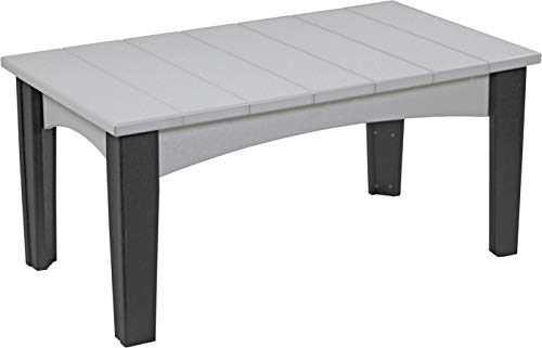 - Furniture Barn USA Outdoor Island Coffee Table - Dove Gray and Black Poly Lumber - Recycled Plastic