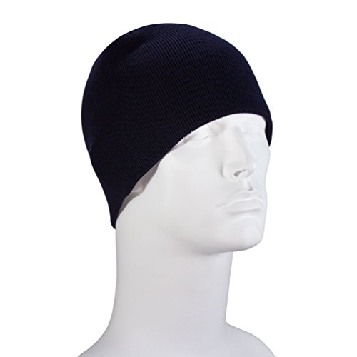 100% Soft Acrylic - Navy Single Piece Solid Color Beanie Winter Hat - Unisex Plain Skull Knit Cap - Made in USA ()