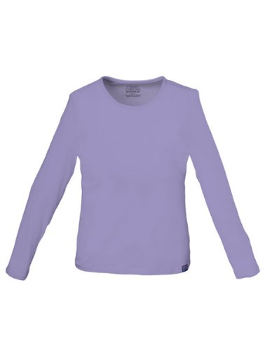 Cherokee Womens Core Stretch Long Sleeve Crew Neck Knit Tee, Orchid, X-Small ()