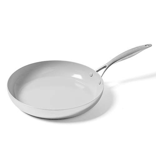 GreenPan CC002256-001 Venice Pro Ceramic Frying Pan, 12'', Light Grey