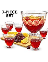 Glass Punch Bowl Set - 7 Piece Kit - Extra Large 2 Gallon Footed Bowl with Six 10.14oz Cups - Perfect Centerpiece for Party Buffets, Events, Receptions and Dinner Parties - Lux 'n Lavish ()