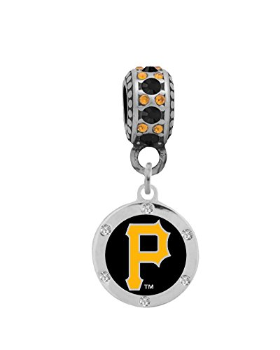 Pittsburgh Pirates Round Charm with Crystals