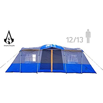 Huge Family Tents for Camping 12-13-14 Person Waterproof. Large Fits Up to 6 Queen Beds. Easy Assembly with Mosquito Mesh-Blue