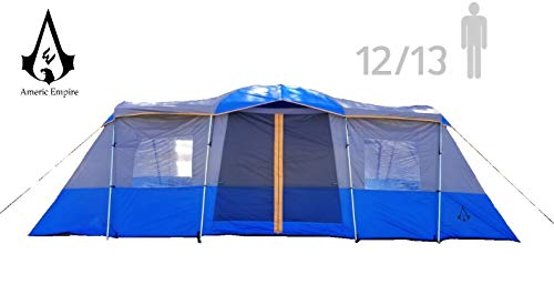 Americ Empire Cabin Tent with 3 Room. XL Huge Family Camping Isolated Tent Large 13 Person Waterproof Shelter (21ft x 10ft). Durable Oversize Fits Up to 6 Queen Beds. Easy Assembly with Mosquito Mesh