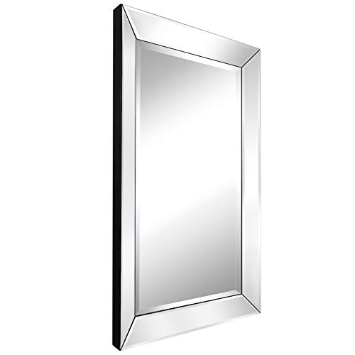 MIRROR TREND 24 x 36 Inches Large Rectangular Beveled Wall Mirrors for Bathroom Mirrors Decorative Wall Mirror for Bedroom Silver Mirror for Hall and Entryway Silver