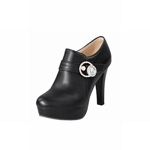 Shine Women's Zipper Show Boots Ankle Black High Fashion Platform Heel BnfApxf