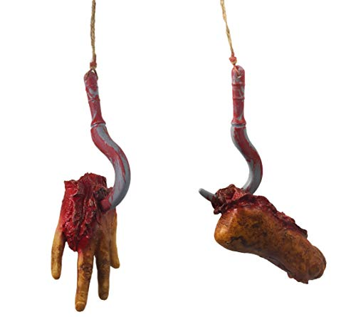 Halloween Decoration Horror Bloody Realistic Prosthetic Fake Broken Body Parts with Rope Hook,Pack of 2 for $<!--$18.99-->