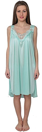 Beverly Rock Women's Tricot Sleeveless Long Nightgown BX96 Mint Green 3X