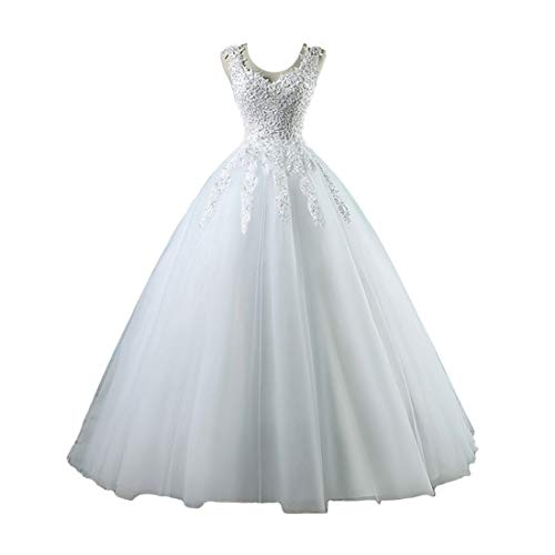 Dexinyuan Lace Ball Gown Wedding Dress for Bride V Neck Beaded Tulle Floor Length Bridal Gown