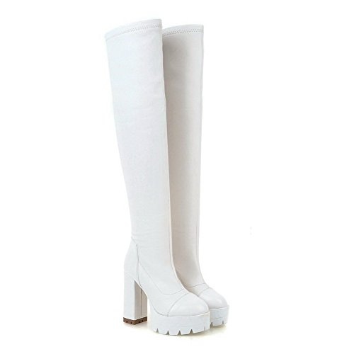 High Women's High top Heels Solid Allhqfashion on Boots White Pull PU w0dcgAtq