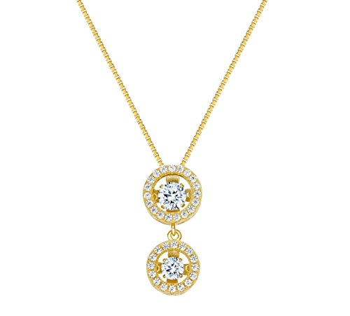NANAS Silver Round Double Halo Dancing Stone (CZ) Pendant/necklace - Yellow Gold Plated