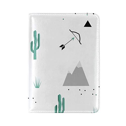 Passport Cover Case Desert Cactus Tree Wilderness Nature Ecosystem Sun Scenic View Leather&microfiber Multi Purpose Print Passport Holder Travel Wallet For Women And Men 5.51x3.94 ()