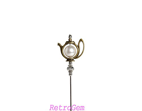RetroGem Unique Teapot Two Tone Hat Pin With Swarovski Elements White Pearl