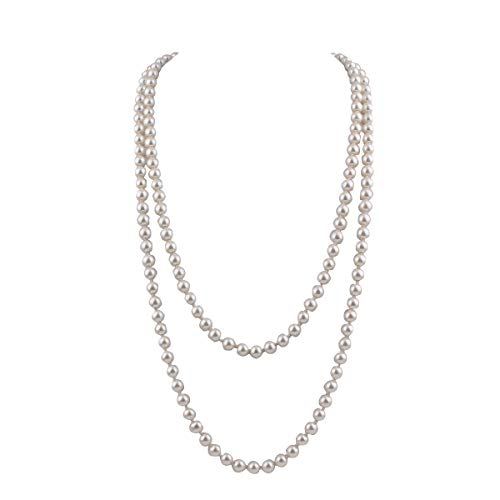 "GRACE JUN Luxury Fashion Glass Simulated Pearl for Women Party Handmade Long Pearl Necklace 55"" (White)"