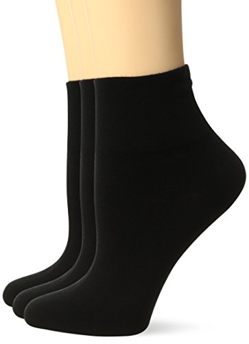 HUE Women's Cotton Body Socks (Pack of 3),Black,One Size