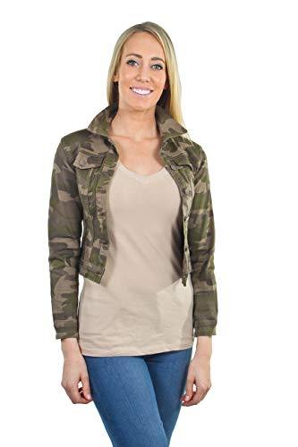 Women's Juniors Premium Stretch Denim Long Sleeve Camouflage Jacket in Beige Camo Size S