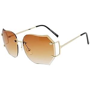 Oversized 70s Classic Large Rimless Laser Cut Lens Sunglasses Women's Frameless Clear Lenses Eyewear Glasses (Gold | Brown, 65)