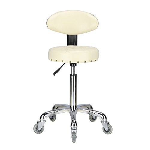 Karrie Rolling Stool Salon Chair with Smooth-rolling Dual-wheels Comfortable Cushioned Back Rest 360-degree Swivel Seat Heavy Duty Hydraulic Height Adjustable Durable (off-white) Cushioned Swivel Stool